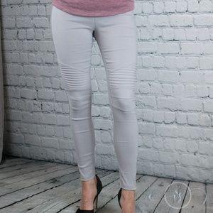07ac24d53ce Vanille Style Pants - Light Grey Plus Size Moto Jeggings